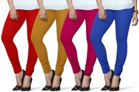 Lux Lyra Women's Red, Yellow, Pink, Light Blue Leggings Pack Of 4