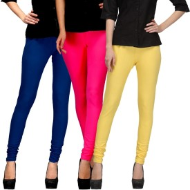 E'Hiose Women's Dark Blue, Pink, Yellow Leggings Pack Of 3