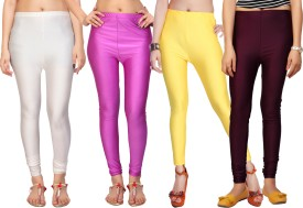 Comix Women's White, Pink, Yellow, Red Leggings Pack Of 4