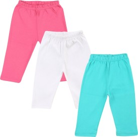 Color Fly Baby Girl's Pink, Green, White Leggings Pack Of 3