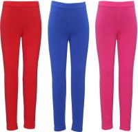 Bodycare Baby Girl's Red, Light Blue, Pink Leggings (Pack Of 3)