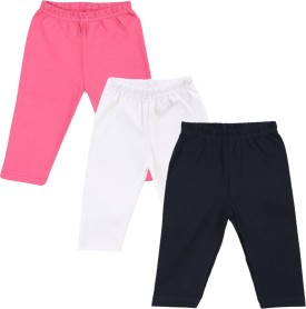 Color Fly Baby Girl's Pink, Dark Blue, White Leggings Pack Of 3