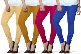 Lux Lyra Women's Beige, Yellow, Pink, Light Blue Leggings Pack Of 4