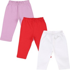 Color Fly Baby Girl's Purple, Red, White Leggings Pack Of 3