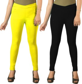 Berries Women's Yellow, Black Jeggings Pack Of 2