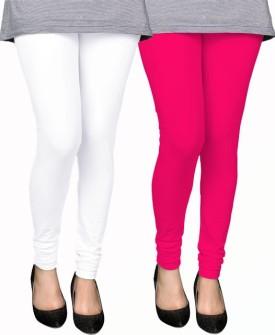 PAMO Women's White, Pink Leggings Pack Of 2