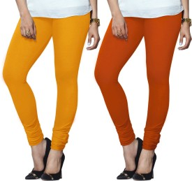 Lux Lyra Women's Yellow, Orange Leggings Pack Of 2