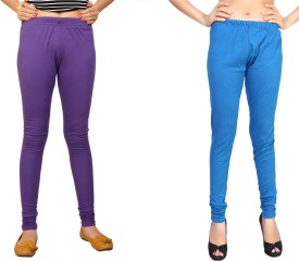 Comix Women's Purple, Light Blue Leggings Pack Of 2