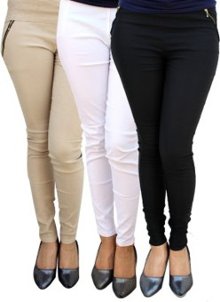 Roma Creation Women's Beige, White, Black Jeggings Pack Of 3
