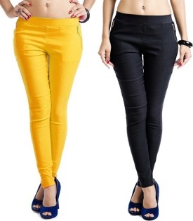 Magrace Women's Yellow, Black Jeggings Pack Of 2