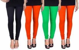 Fashion Flow+ Women's Black, Orange, Green, Orange Leggings Pack Of 4