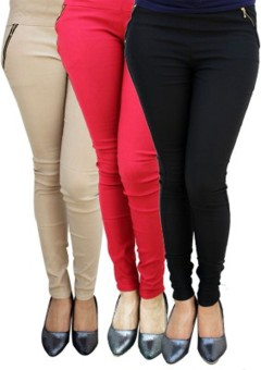 Roma Creation Women's Beige, Red, Black Jeggings Pack Of 3