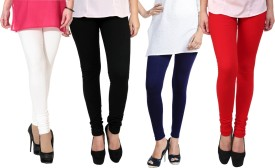 Escocer Women's White, Black, Blue, Red Leggings Pack Of 4