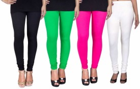 C&s Shopping Gallery Women's Black, Green, Pink, White Leggings Pack Of 4
