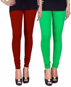 Fashion Flow+ Women's Maroon, Green Leggings Pack Of 2