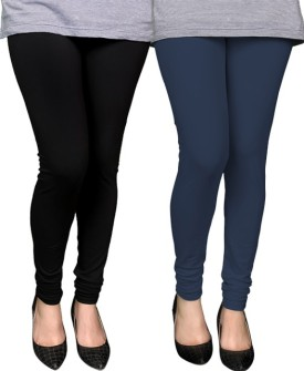 PAMO Women's Black, Blue Leggings Pack Of 2