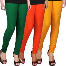 WCTrends Women's Yellow, Orange, Green Leggings Pack Of 3
