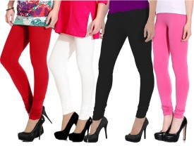NGT Women's Red, White, Pink, Black Leggings Pack Of 4