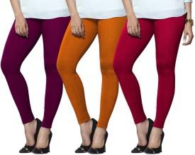 Lux Lyra Women's Purple, Orange, Pink Leggings Pack Of 3