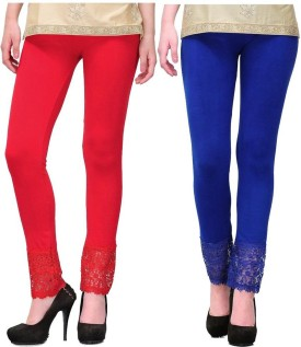 MDS Jeans Girl's, Women's Red, Blue Leggings Pack Of 2