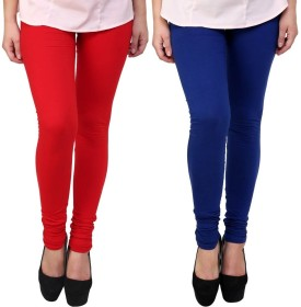 Legemat Women's Red, Blue Leggings Pack Of 2