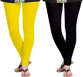 Aannie Women's Yellow, Black Leggings Pack Of 2
