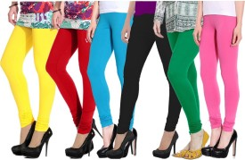 Ngt Women's Yellow, Red, Light Blue, Black, Green, Pink Leggings Pack Of 6