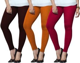Lux Lyra Women's Maroon, Orange, Pink Leggings Pack Of 3