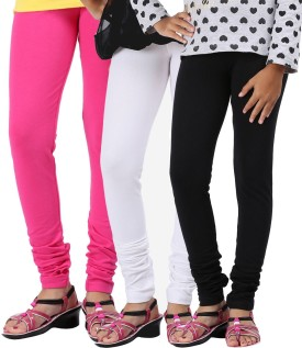 Greenwich Baby Girl's Green, Black, Pink Leggings Pack Of 3