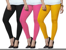 Lux Lyra Women's Black, Pink, Yellow Leggings Pack Of 3