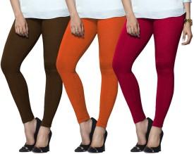 Lux Lyra Women's Brown, Orange, Pink Leggings Pack Of 3