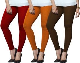 Lux Lyra Women's Red, Orange, Brown Leggings Pack Of 3