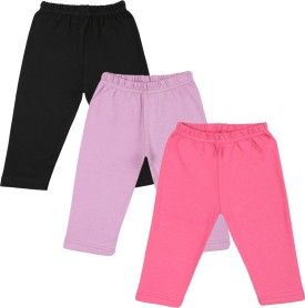 Color Fly Baby Girl's Black, Pink, Purple Leggings Pack Of 3