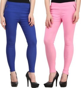 Roma Creation Girl's Blue, Pink Jeggings Pack Of 2