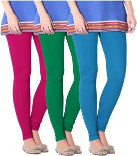 Nice Fit Women's Blue, Maroon, Green Leggings Pack Of 3