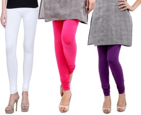 Sampoorna Collection Women's White, Pink, Purple Leggings Pack Of 3