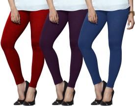 Lux Lyra Women's Red, Purple, Light Blue Leggings Pack Of 3
