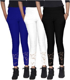Xarans Women's Blue, White, Black Jeggings Pack Of 3