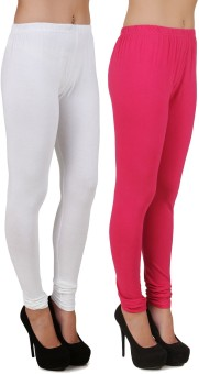 Stylishbae Women's White, Pink Leggings Pack Of 2