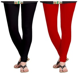 Roshni Creations Girl's, Women's Black, Red Leggings Pack Of 2