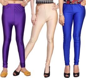 Comix Women's Purple, Beige, Blue Leggings Pack Of 3