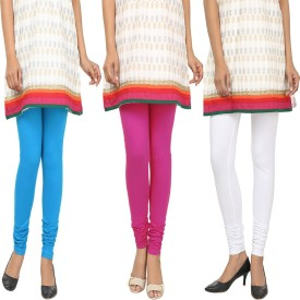 Agrima Fashion Women's Light Blue, Pink, White Leggings Pack Of 3