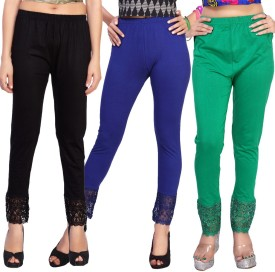 Comix Women's Black, Dark Blue, Green Leggings Pack Of 3