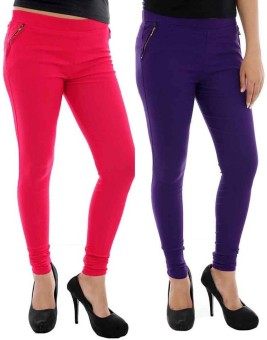 Paulzi Women's Pink, Purple Jeggings Pack Of 2