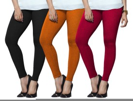 Lux Lyra Women's Black, Orange, Pink Leggings Pack Of 3