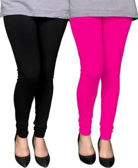 PAMO Women's Black, Pink Leggings Pack Of 2