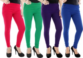 Paulzi Women's Pink, Green, Purple, Blue Jeggings Pack Of 4