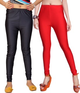 Comix Women's Black, Grey, Red Leggings Pack Of 2