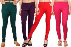 Comix Women's Green, Purple, Red, Pink Leggings Pack Of 4