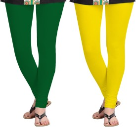 Aannie Women's Dark Green, Yellow Leggings Pack Of 2